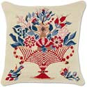 Traditional Williamsburg Urn Floral Needlepoint Pillow