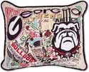 University Georgia Bulldog Embroidered Collegiate Pillow