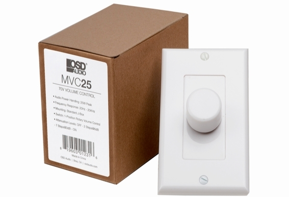 25 Watt Commercial 70V High Power Mono In-Wall Rotary Style Volume Control w/Thru Output Easy Daisy Chain Installation