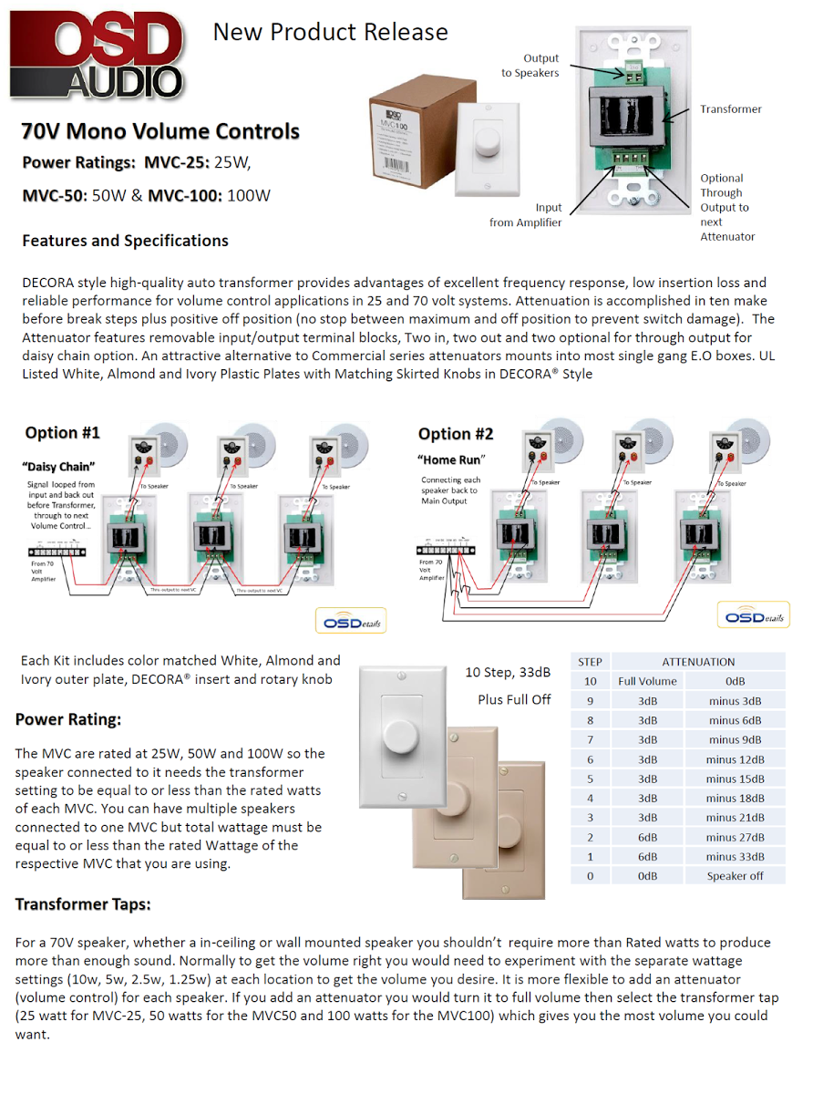 25 watt commercial 70v high power mono in wall rotary style volume control w thru output hig easy daisy chain installation 3 25 watt commercial 70v high power mono in wall rotary style volume Pro Audio Wiring Diagrams at crackthecode.co