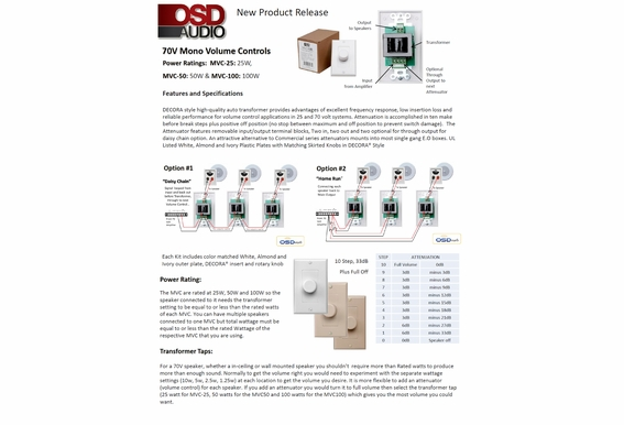 50 Watt Commercial 70V Mono In-Wall Rotary Style High Power Volume Control w/Thru Output Daisy Chain Installation MVC50