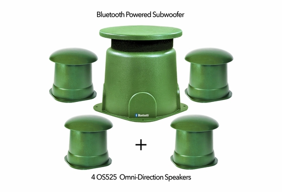 BOM4.1 - Bluetooth Omni Directional 100W Subwoofer with (4) 60W Satellite Speaker Output Connections IP67 Waterproof Power Supply - NO Amp Needed