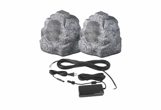 "BTR800 Wireless 8"" Bluetooth 2-Way Outdoor Rock Speaker Pair Brown Grey Slate Color"