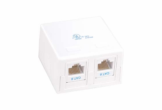 CAT5e 2 Port Keystone Surface Mount Box