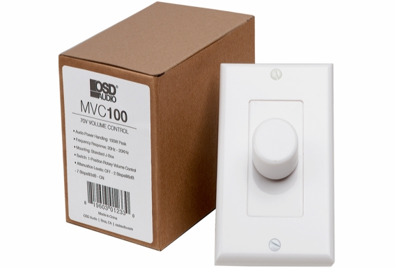 Commercial 70V In-Wall Rotary Style High Power 100 Watts Volume Control w/Thru Output Easy Daisy Chain Installation