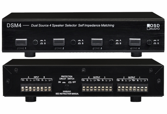 Four 4 Zone Dual Source Speaker Selector With Volume Manual Guide