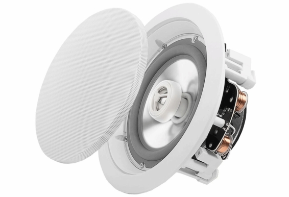 "ICE640WRS 6.5"" Weather Proof Outdoor Rated Ceiling Speakers Aluminum Grill  Swivel Tweeter W/ Crossover Pair"