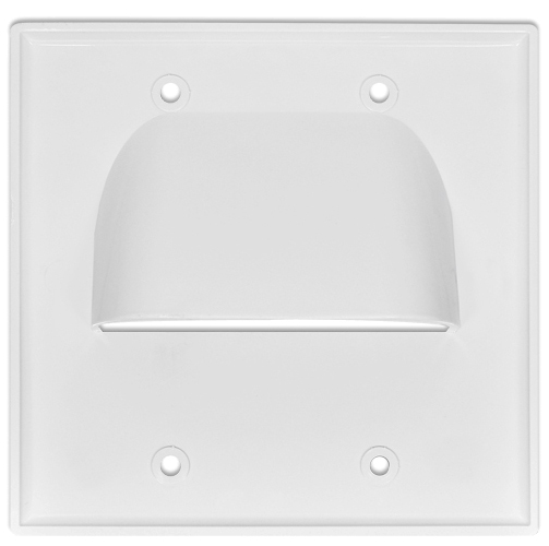 Inverted pass through bundle cable wall plate dual gang for Exterior wall cable pass through