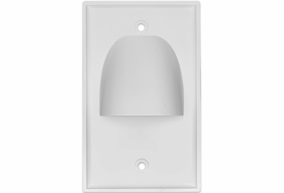 Inverted Pass Through Bundle Cable Wall Plate Single Gang (White)