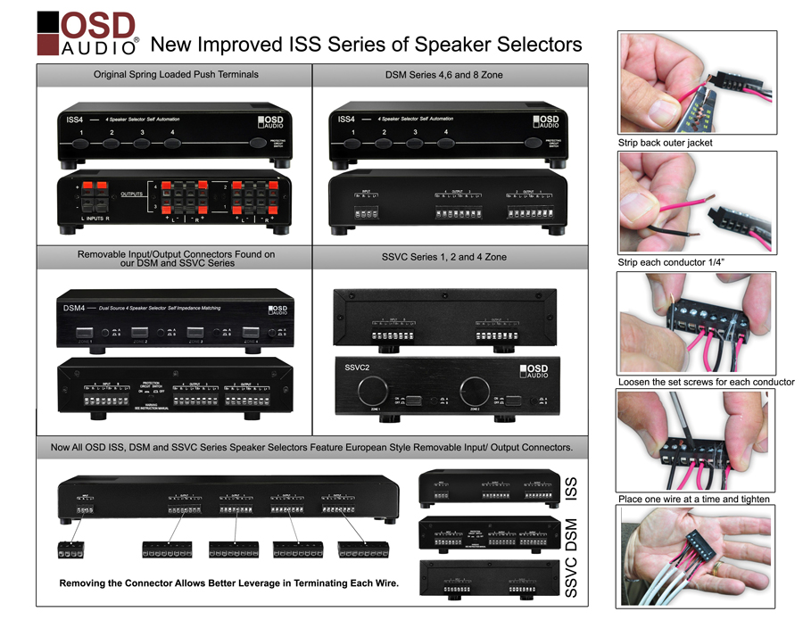 iss4 4x pair high power speaker selector with speaker impedance protection european easy connect style 4 speaker selector 4 pair high power osd iss4 Pro Audio Wiring Diagrams at honlapkeszites.co