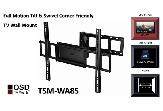 "LCD/LED/Plasma TV Wall Mount Tilt & Swivel 32""-70"" OSD TSM-WA8S"