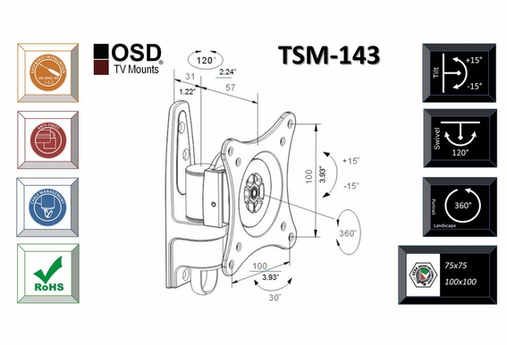 "LCD/LED Tilt & Swivel Mount 13""-23"" OSD TSM-143"