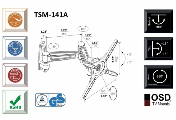"LED/LCD Corner TV Mount 17"" - 37"" OSD TSM 141A"