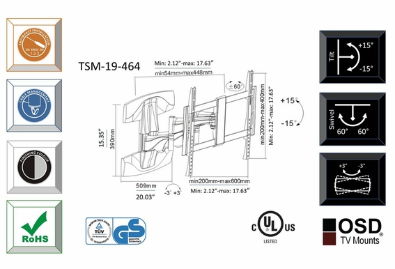"LED/LCD/Plasma Tilt & Swivel Full Motion TV Mount 32"" - 70"" OSD TSM-19-464"