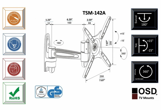 "LED/LCD/Plasma TV Mount Tilt & Swivel 10"" - 32"" OSD TSM 142A"