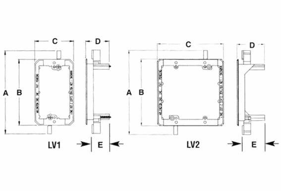 LV2 2-Gang Mounting Brackets for Low Voltage Wiring