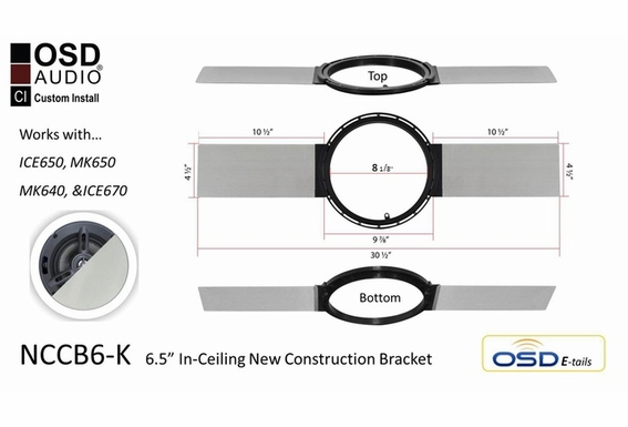 "NCCB6-K New Construction Bracket for 6.5"" Ceiling Speaker (pair)"