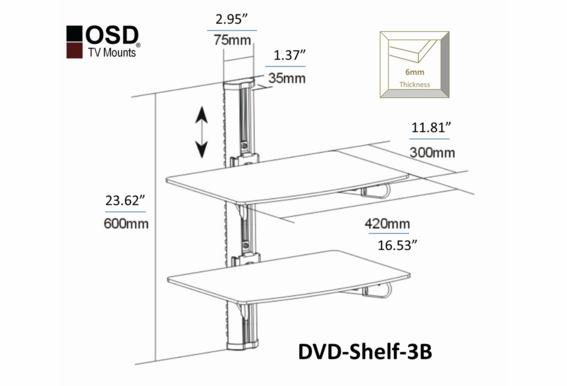 OSD 2 Shelf DVD Bracket