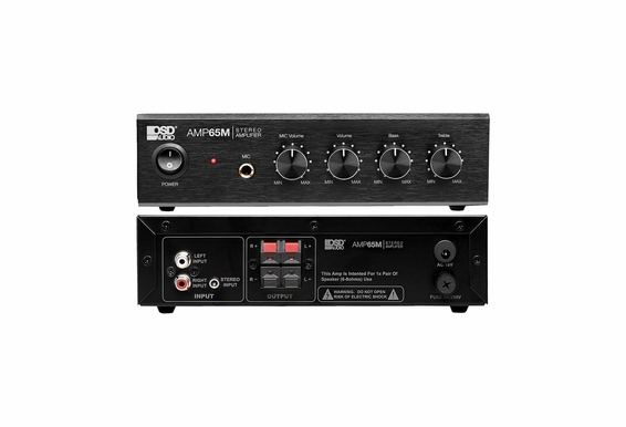 "OSD Audio AMP65 50W RMS (25Wx2) Aluminum Face Compact Stereo Amplifier w/ 1/4"" Mic Input"