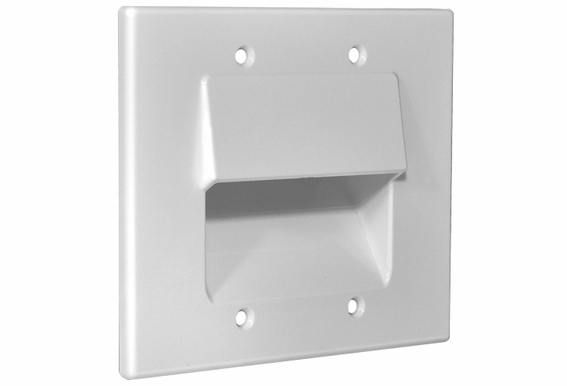 Osd double gang pass through bundle wall plate for Cable plat passe fenetre