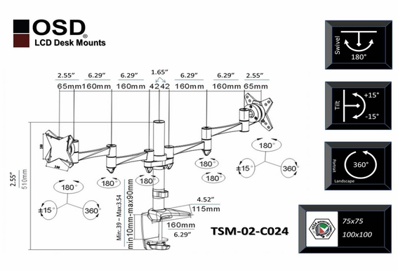 "OSD TSM-02-C024 Tilt & Swivel Desktop LCD Mount 13"" - 23"""