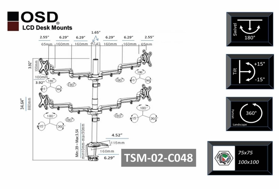 "OSD TSM-02-C048 Desktop LCD Tilt & Swivel Mount 13"" - 23"""