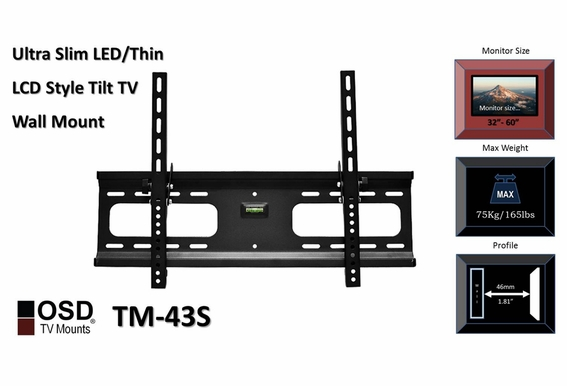 "Plasma/LCD TV Mount 32""-70"" OSD TM-43S w/ 12FT HDMI Cable"