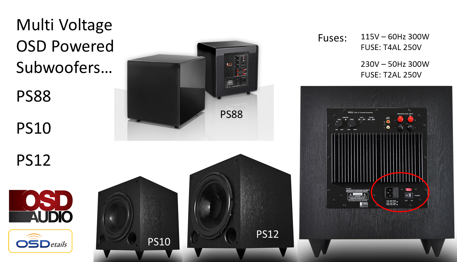 ps88 home theater subwoofer - dual woofer compact design