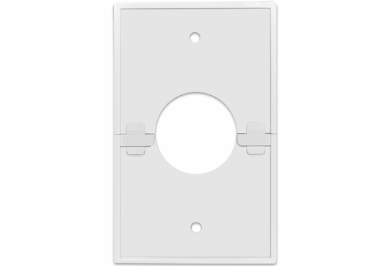 "Split Single Gang Wall Plate With 1 3/8"" Hole"