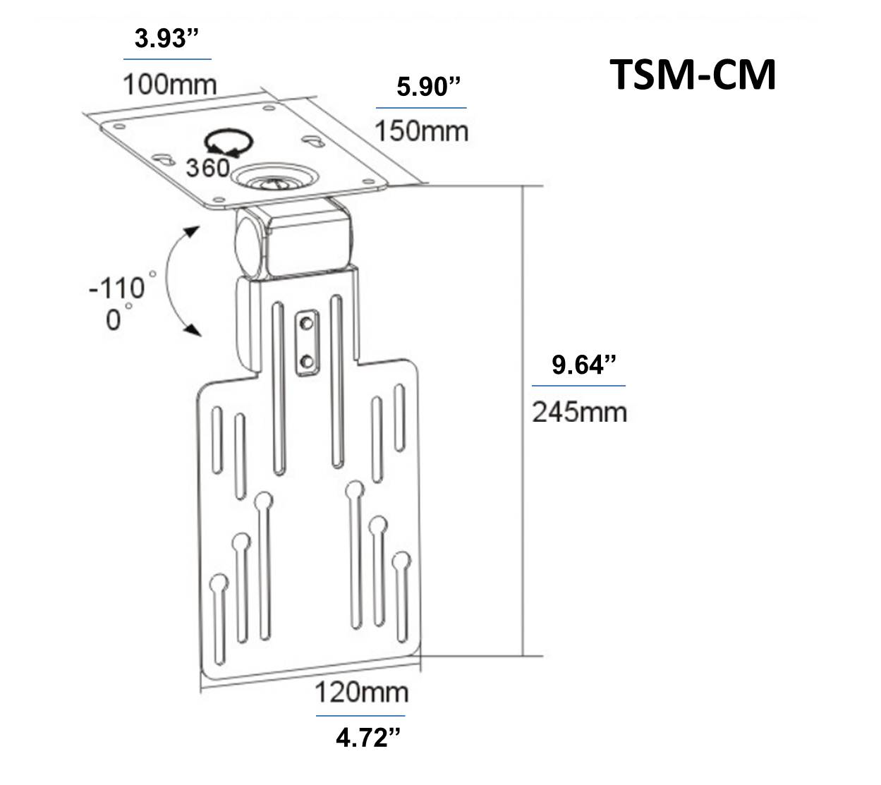 Tsm Cm 10 23 Inch Tilt Swivel Mount on custom audio install
