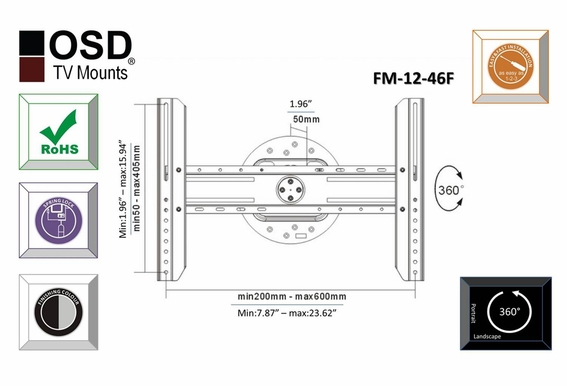 """TV Wall Mount for LED, LCD and Plasma TVs Fixed Swivel Mount 32"""" - OSD-FM-12-46F"""