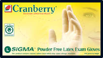 Cranberry Sigma PF Latex Exam Gloves 6.5 mils.