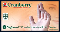 Cranberry Soft-Touch Powder-Free Vinyl Exam Gloves