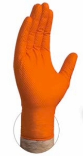 Orange Nitrile Diamond Textured Gloves