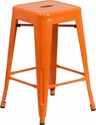 24'' High Backless Orange Metal Indoor-Outdoor Counter Height Stool with Square Seat [CH-31320-24-OR-GG]