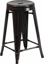 24'' High Backless Black-Antique Gold Metal Indoor-Outdoor Counter Height Stool with Round Seat [CH-31350-24-BQ-GG]