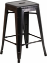 24'' High Backless Black-Antique Gold Metal Indoor-Outdoor Counter Height Stool with Square Seat [CH-31320-24-BQ-GG]