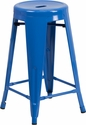 24'' High Backless Blue Metal Indoor-Outdoor Counter Height Stool with Round Seat [CH-31350-24-BL-GG]