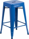 24'' High Backless Blue Metal Indoor-Outdoor Counter Height Stool with Square Seat [CH-31320-24-BL-GG]