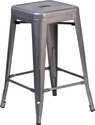 24'' High Backless Clear Coated Metal Indoor Barstool with Square Seat [XU-DG-TP0004-24-GG]