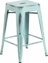 24'' High Backless Distressed Green-Blue Metal Indoor-Outdoor Counter Height Stool [ET-BT3503-24-DB-GG]