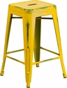 24'' High Backless Distressed Yellow Metal Indoor-Outdoor Counter Height Stool [ET-BT3503-24-YL-GG]