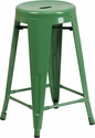 24'' High Backless Green Metal Indoor-Outdoor Counter Height Stool with Round Seat [CH-31350-24-GN-GG]