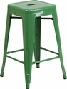 24'' High Backless Green Metal Indoor-Outdoor Counter Height Stool with Square Seat [CH-31320-24-GN-GG]