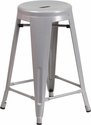24'' High Backless Silver Metal Indoor-Outdoor Counter Height Stool with Round Seat [CH-31350-24-SIL-GG]