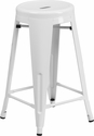 24'' High Backless White Metal Indoor-Outdoor Counter Height Stool with Round Seat [CH-31350-24-WH-GG]
