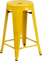 24'' High Backless Yellow Metal Indoor-Outdoor Counter Height Stool with Round Seat [CH-31350-24-YL-GG]