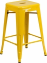 24'' High Backless Yellow Metal Indoor-Outdoor Counter Height Stool with Square Seat [CH-31320-24-YL-GG]