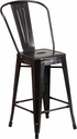 24'' High Black-Antique Gold Metal Indoor-Outdoor Counter Height Stool with Back [CH-31320-24GB-BQ-GG]