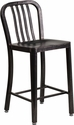 24'' High Black-Antique Gold Metal Indoor-Outdoor Counter Height Stool with Vertical Slat Back [CH-61200-24-BQ-GG]